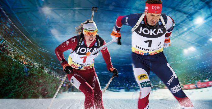 Biathlon auf Schalke: Ole Einar Björndalen & Darja Domratschewa